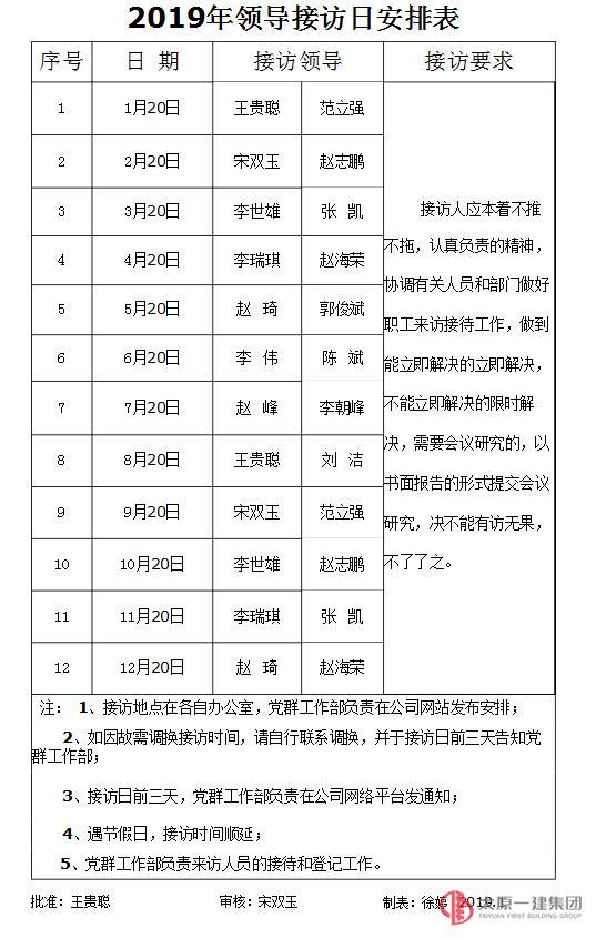 2019年领导接访日安排表